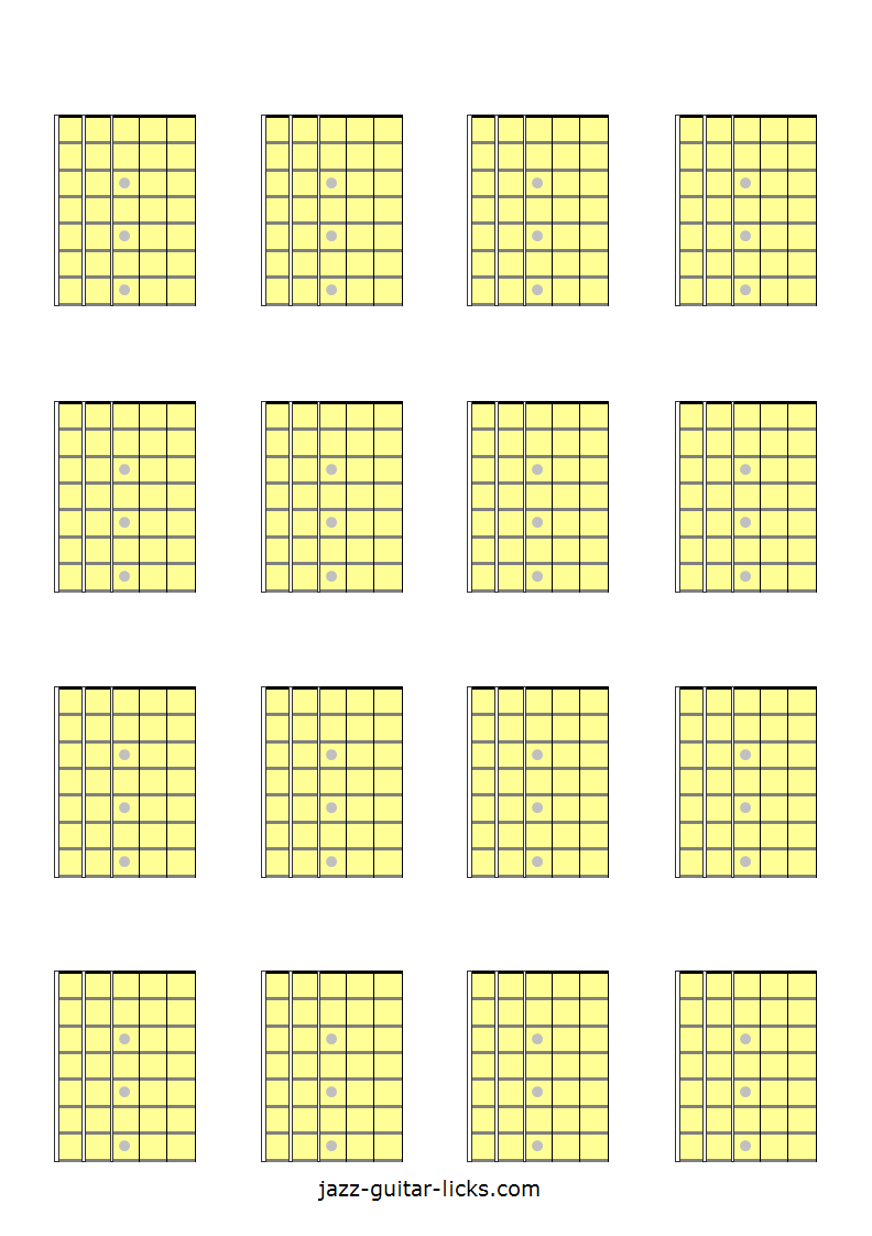 Printable Blank Guitar Fretboard Diagrams