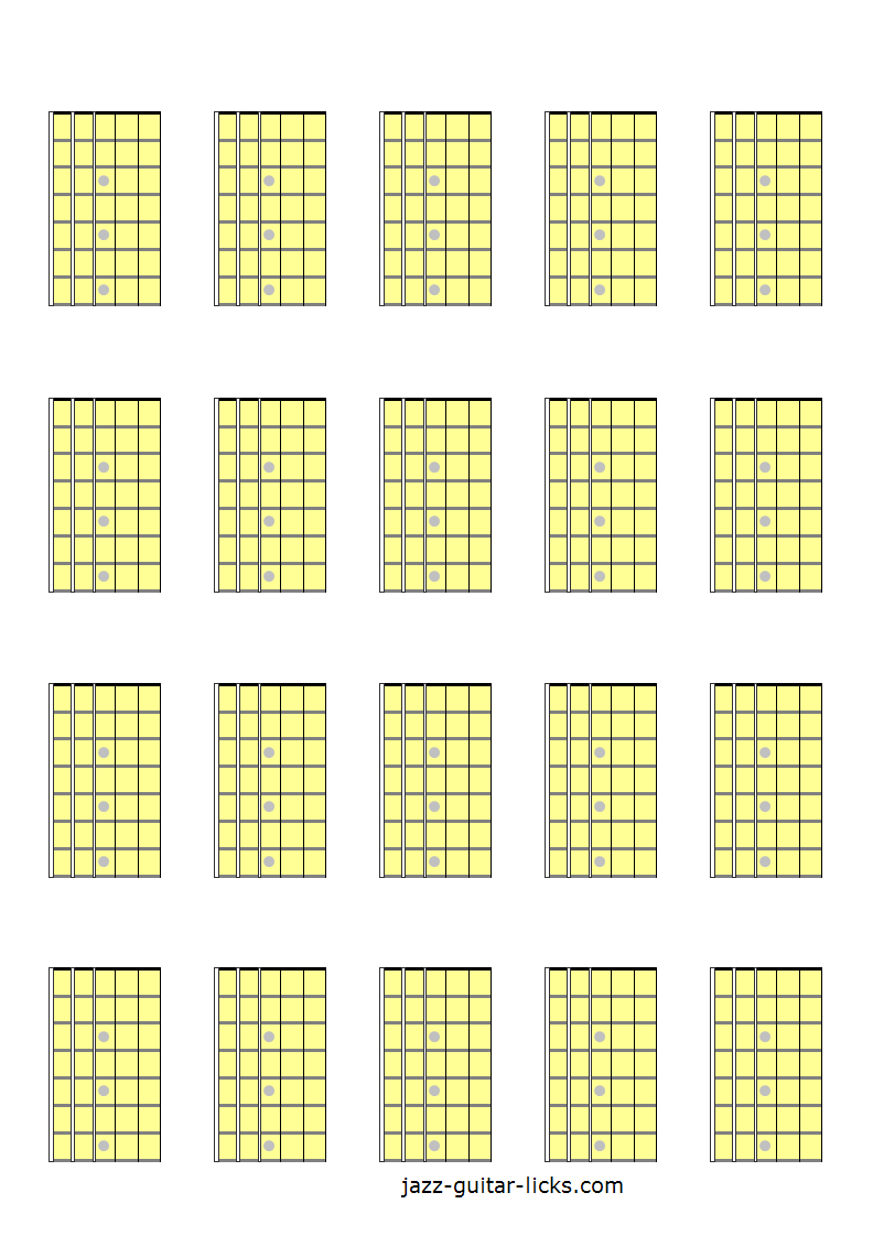 20 blank guitar fretboard diagrams