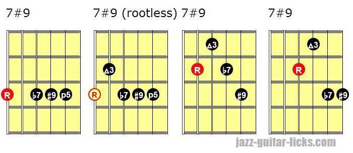 7#9 guitar chord shapes