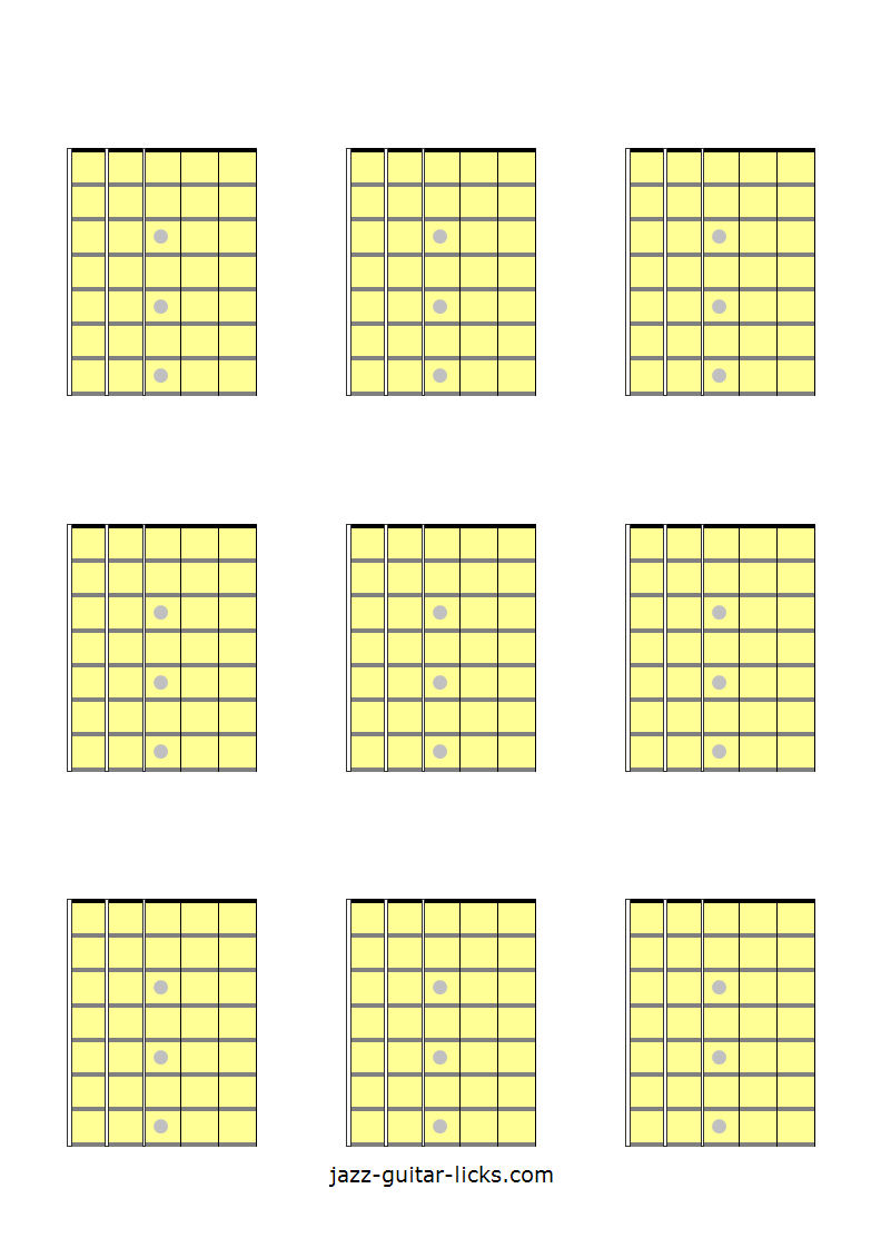 9 blank guitar fretboard diagrams