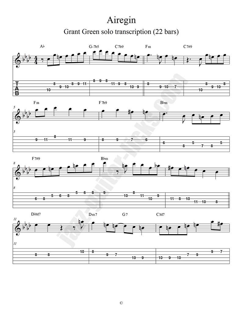 Airegin grant green jazz guitar transcription