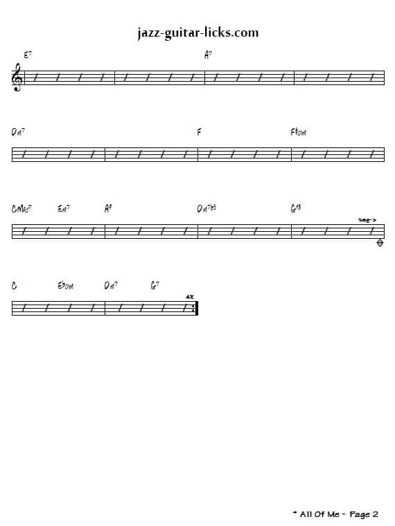 All of me jazz standard chords 2