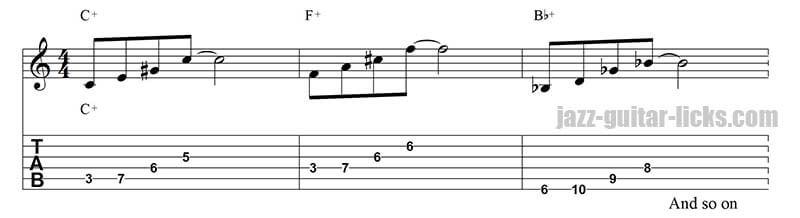 Augmented jazz guitar pattern circle of fourth