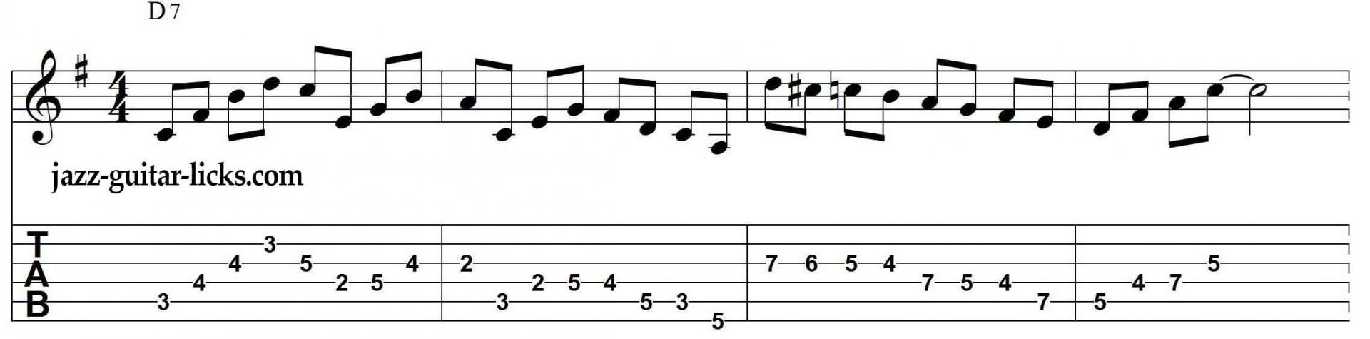 D7 bebop dominant jazz guitar lick