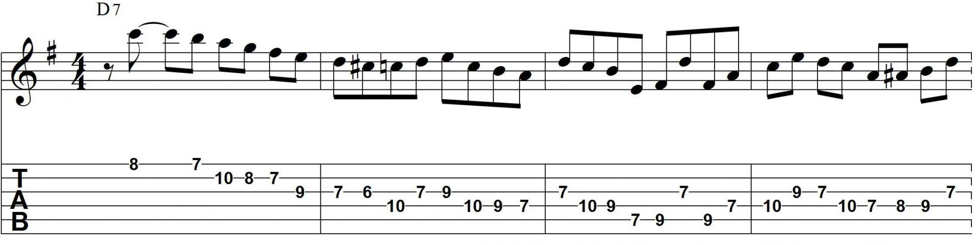 D dominant bebop jazz guitar lick with tab