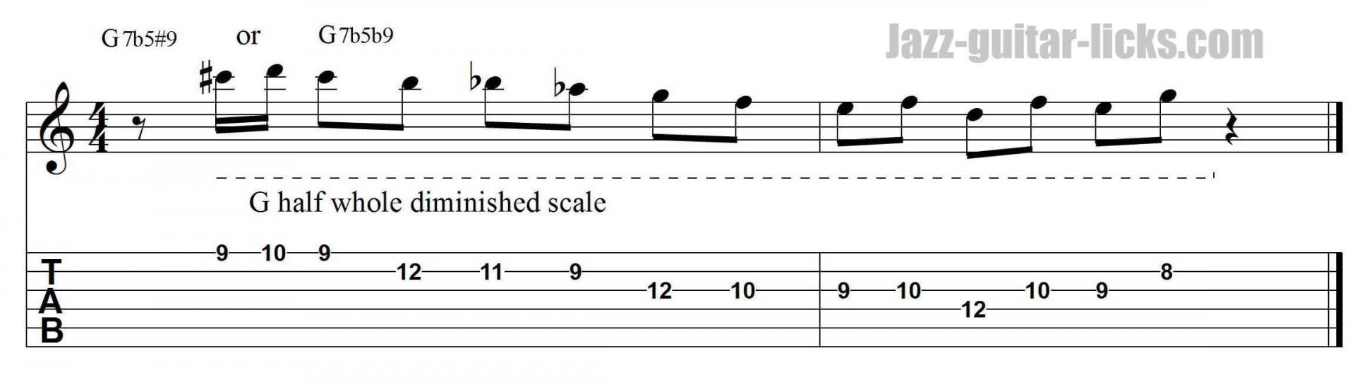 Half-whole diminished jazz guitar pattern with tab 3