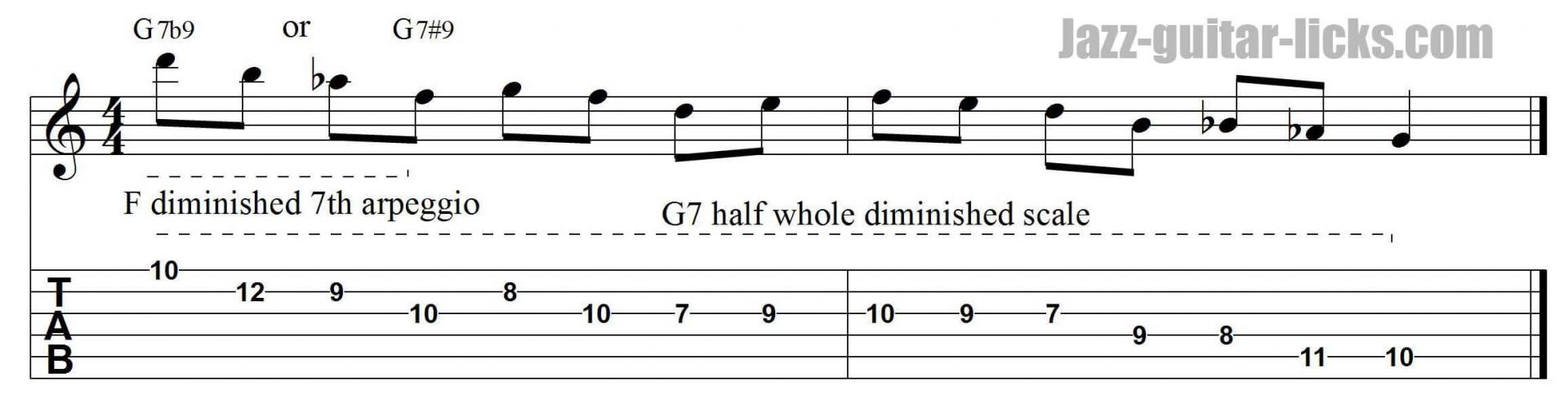 Dominant diminished jazz guitar lesson with tab pattern 4