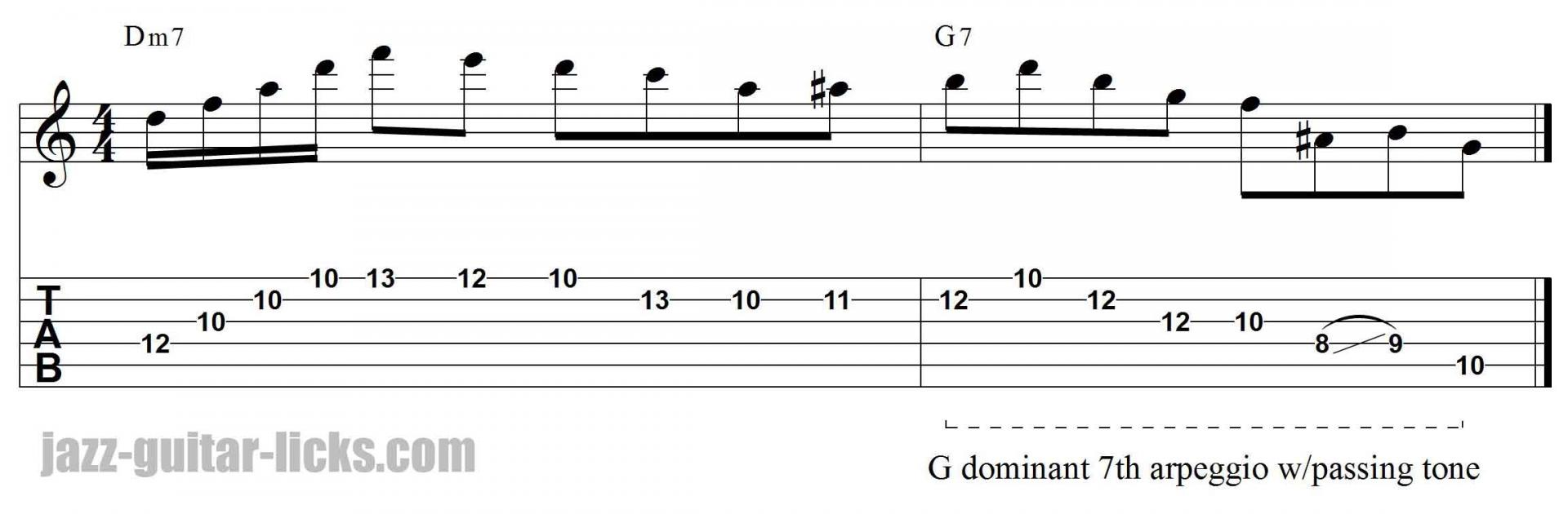 Dominant 7th arpeggio jazz guitar lick with tab