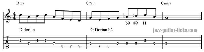 Dorian b2 lick II V I sequence