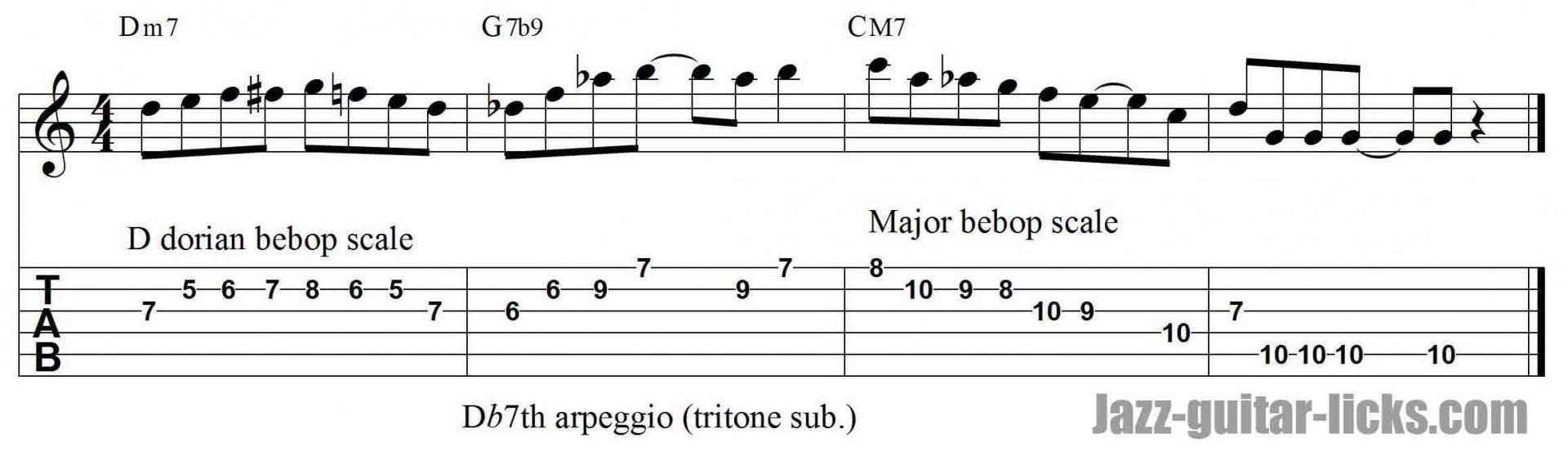 Dorian bebop scale jazz guitar lick