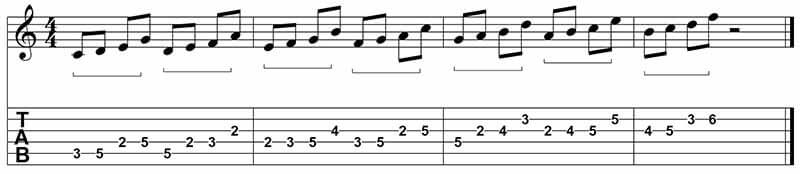 Grouping notes - 1235 jazz guitar patterns