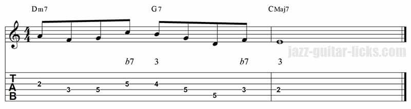 Guide tones jazz guitar lick 2