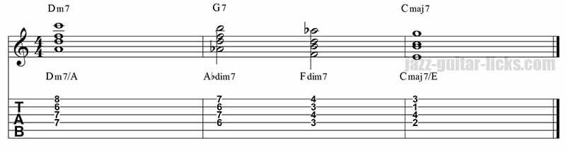 II-V-I jazz guitar chords