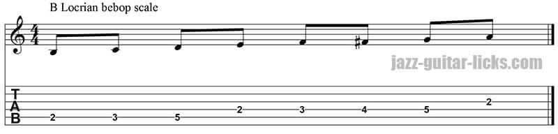 Locrian bebop guitar scale