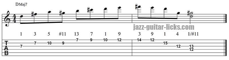 Lydian jazz guitar lick