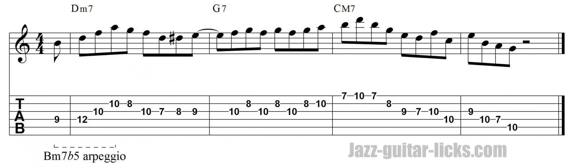 Bm7b5 arpeggio jazz guiatr lick 1