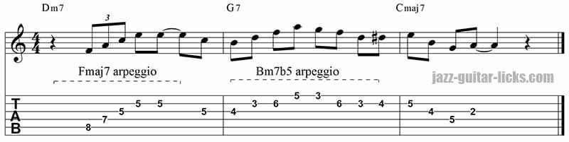 Minor 9th arpeggio lick 2-5-1 sequence