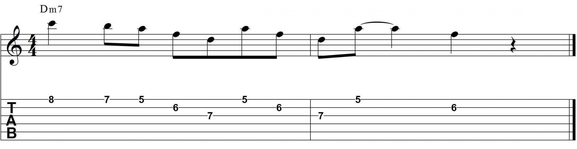 Minor jazz guitar pattern with tab 1