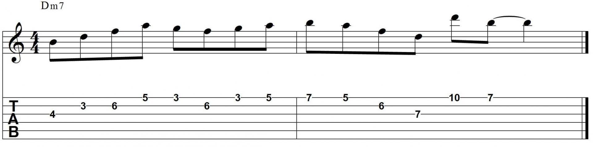 minor jazz guitar lick half diminished arpeggio