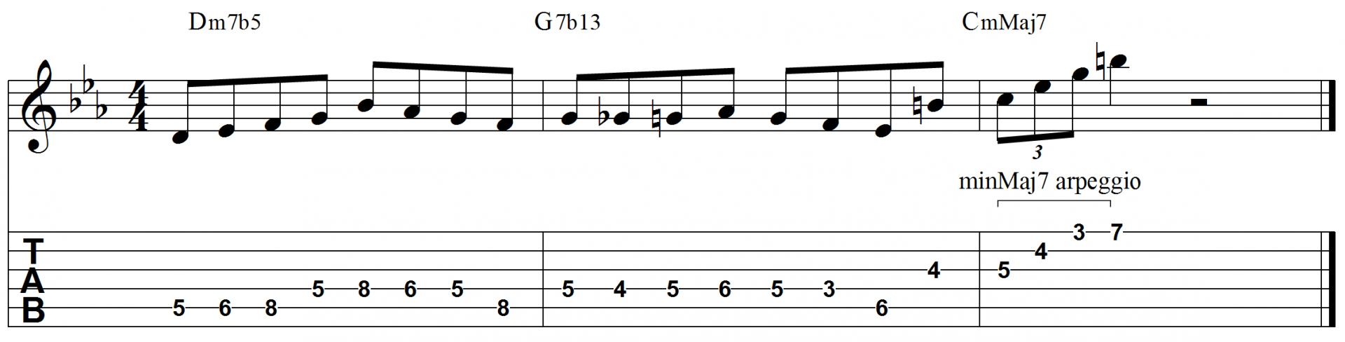Minor major 7 jazz guitar lick