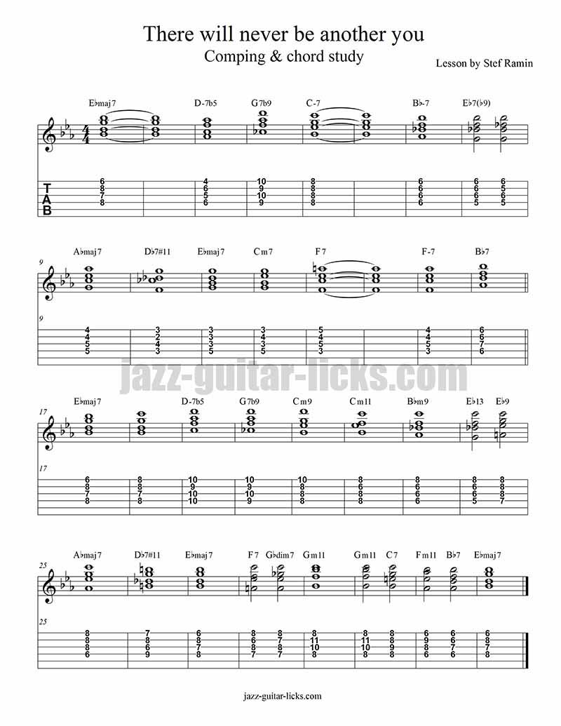 Jazz guitar chord study there will never be another you there will never be another you jazz guitar comping study hexwebz Gallery