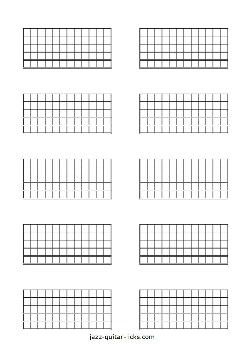 picture regarding Printable Blank Guitar Chord Chart identified as Printable Blank Guitar Neck Diagrams - Chord Scale Charts