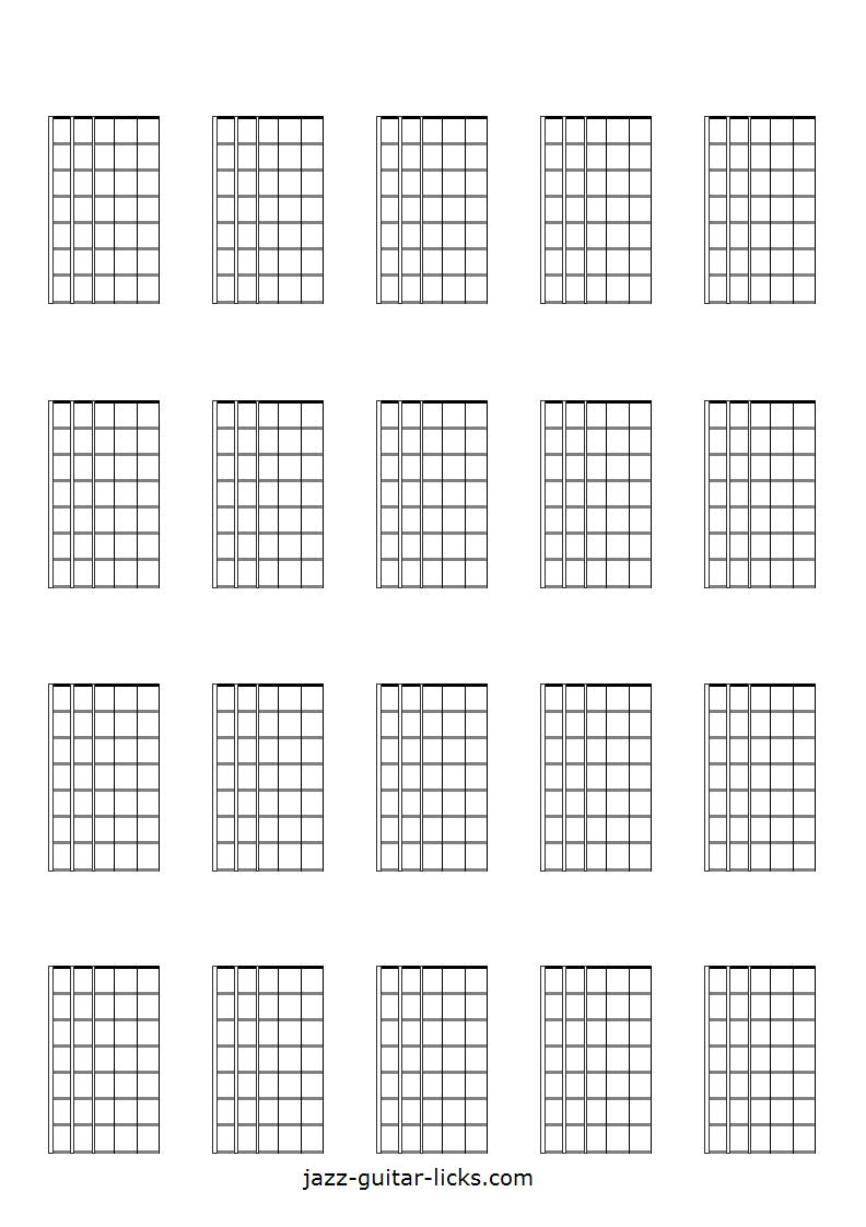 image relating to Guitar Fretboard Diagram Printable identified as Printable Blank Guitar Neck Diagrams - Chord Scale Charts