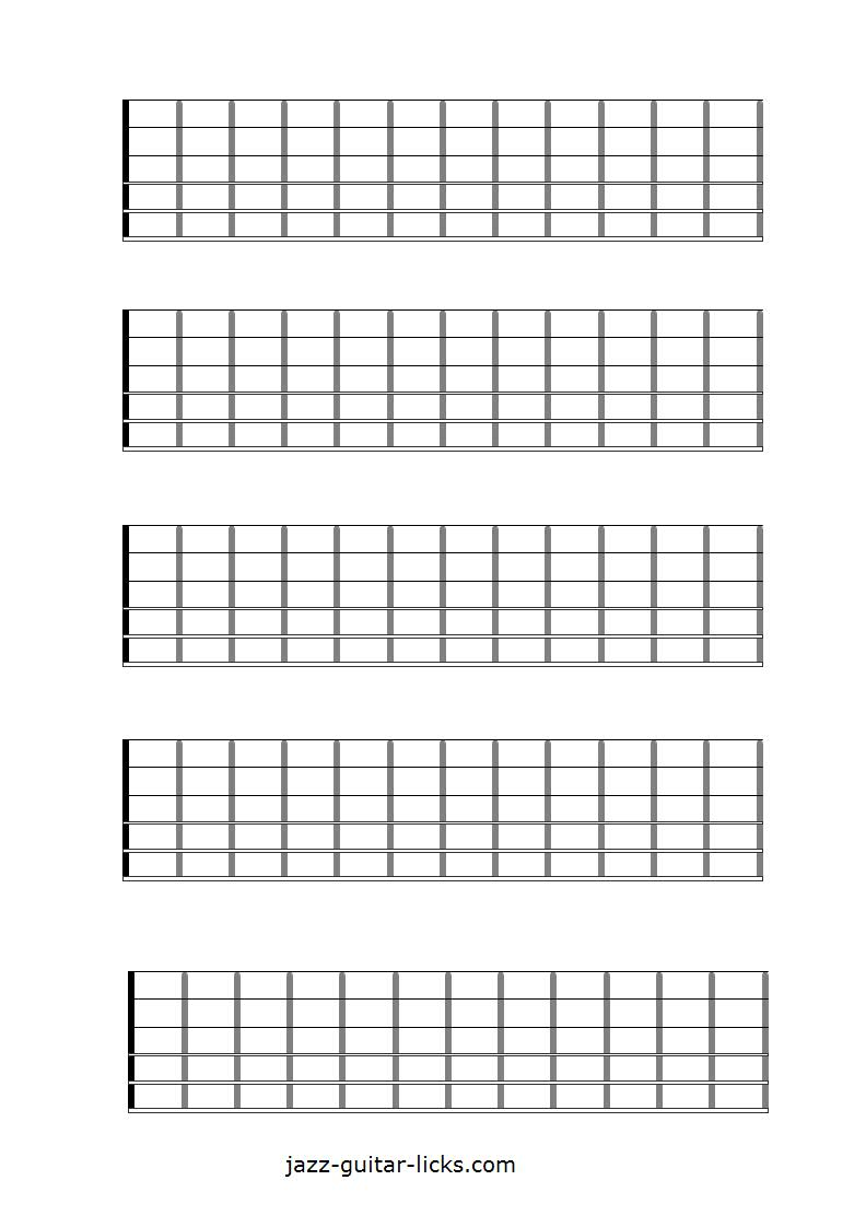 picture regarding Printable Guitar Fretboard referred to as Printable Blank Guitar Neck Diagrams - Chord Scale Charts