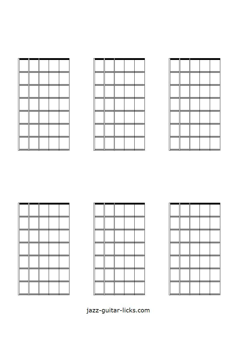 picture relating to Guitar Fretboard Diagram Printable named Printable Blank Guitar Neck Diagrams - Chord Scale Charts