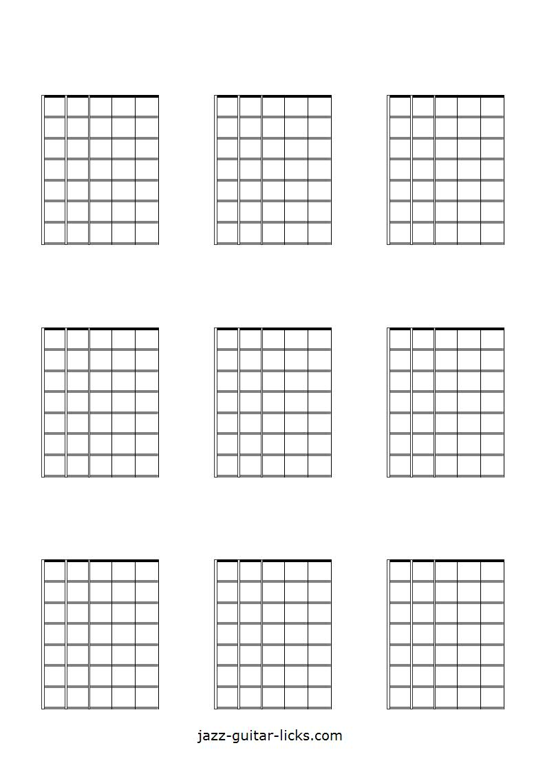 photograph about Printable Guitar Fretboard named Printable Blank Guitar Neck Diagrams - Chord Scale Charts