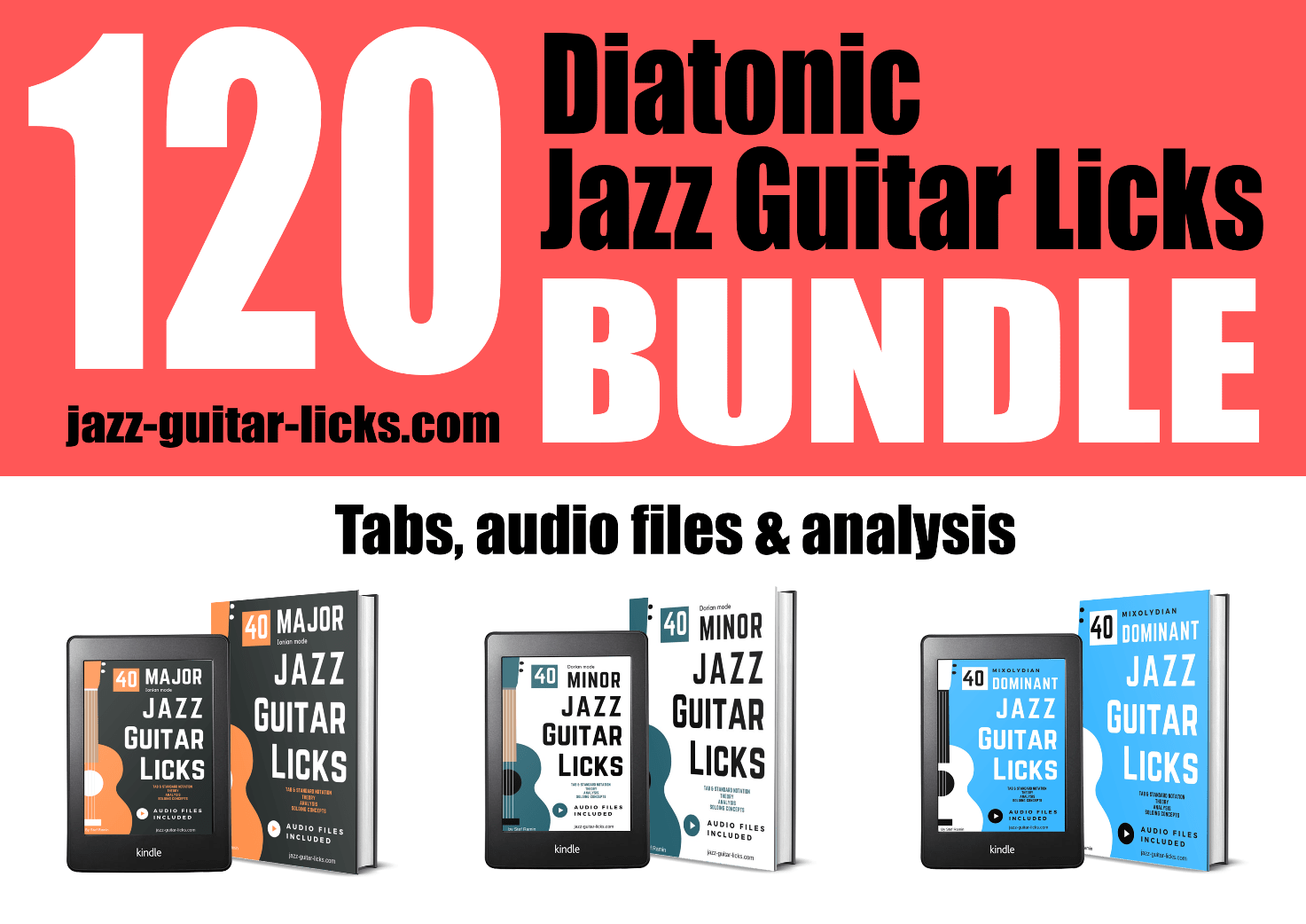 120 diatonic jazz guitar licks exercises lesson bundle package