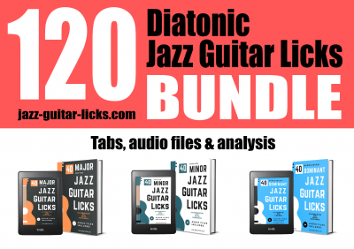 120 diatonic jazz guitar licks exercises lesson bundle package