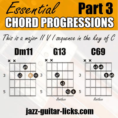 2 5 1 sequence with guitar chord shapes