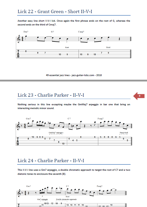 PDF Guitar Method with Tabs - 49 Essential Jazz Guitar Licks
