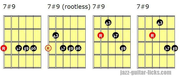 7#9 guitar chord shapes