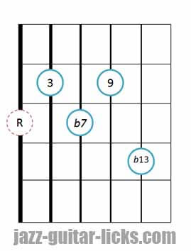 Dominant 9b13 Guitar Chords Drop 2 Drop 3 Voicings