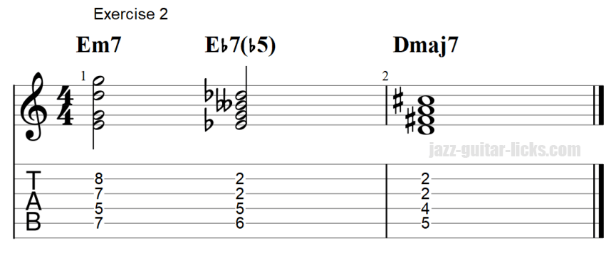 7b5 guitar chord exercises with tab 2