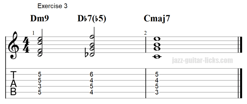 7b5 guitar chord exercises with tab 3