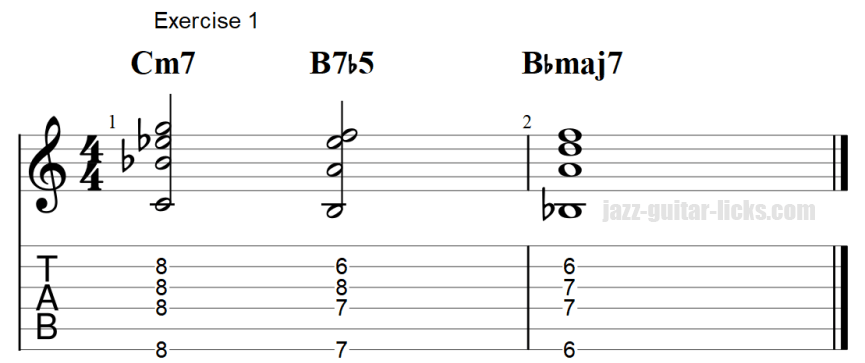 7b5 guitar chord exercises with tab