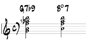 7b9 chords vs diminished 7 chord