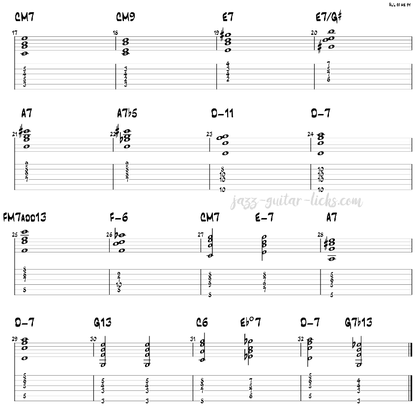 All of me jazz guitar chords 2