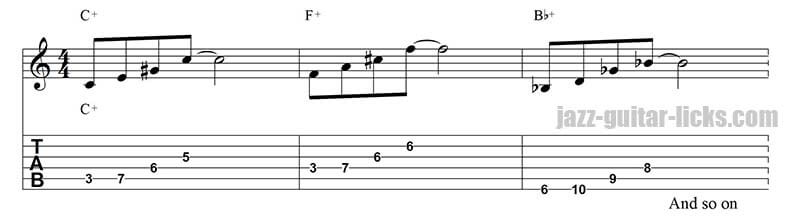 Augmented jazz guitar pattern circle of fourth