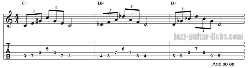 Augmented triad jazz guitar pattern