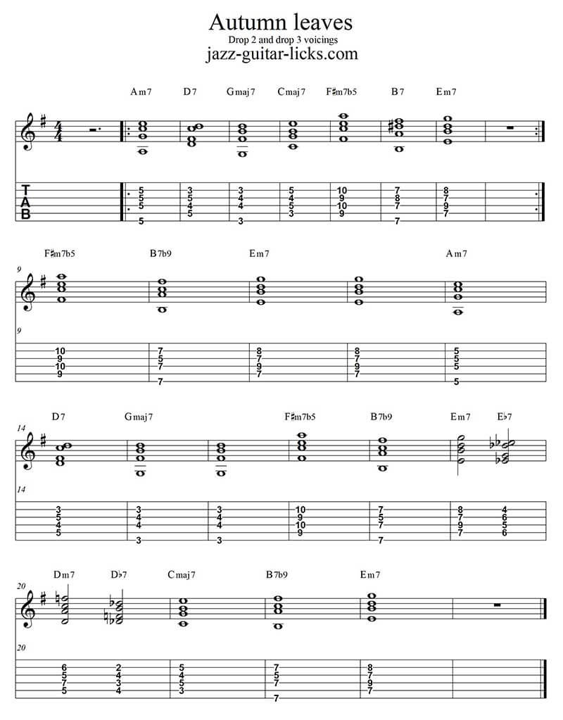 Autumn leaves basic jazz guitar chords