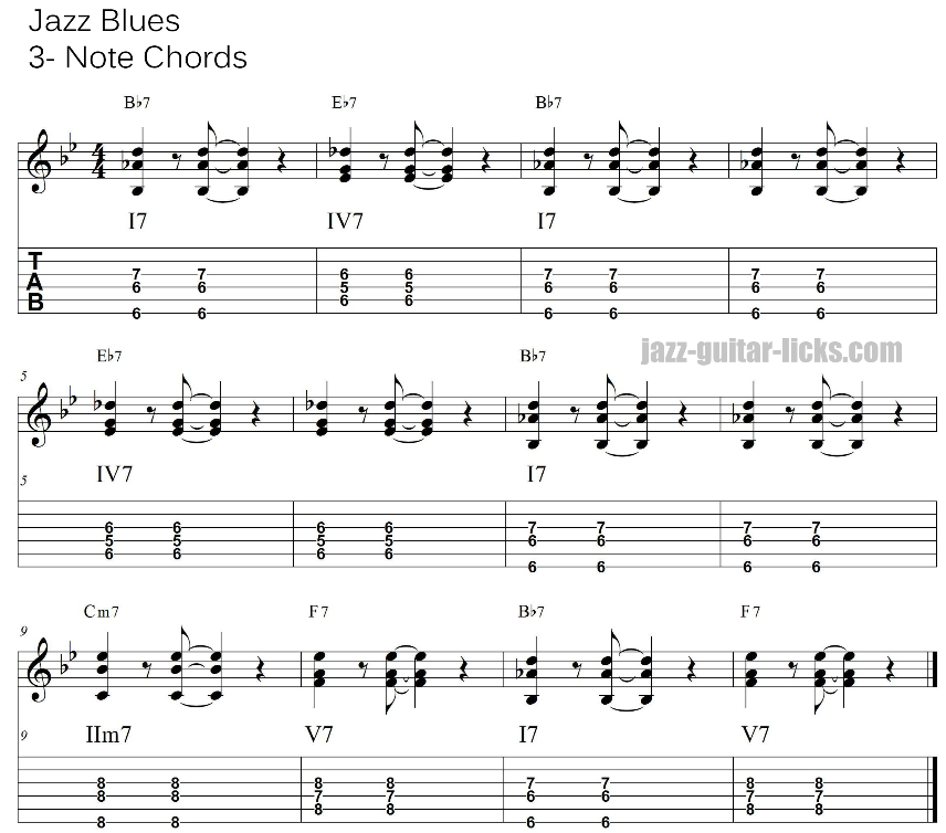 Bb blues jazz comping 3 note guitar chords