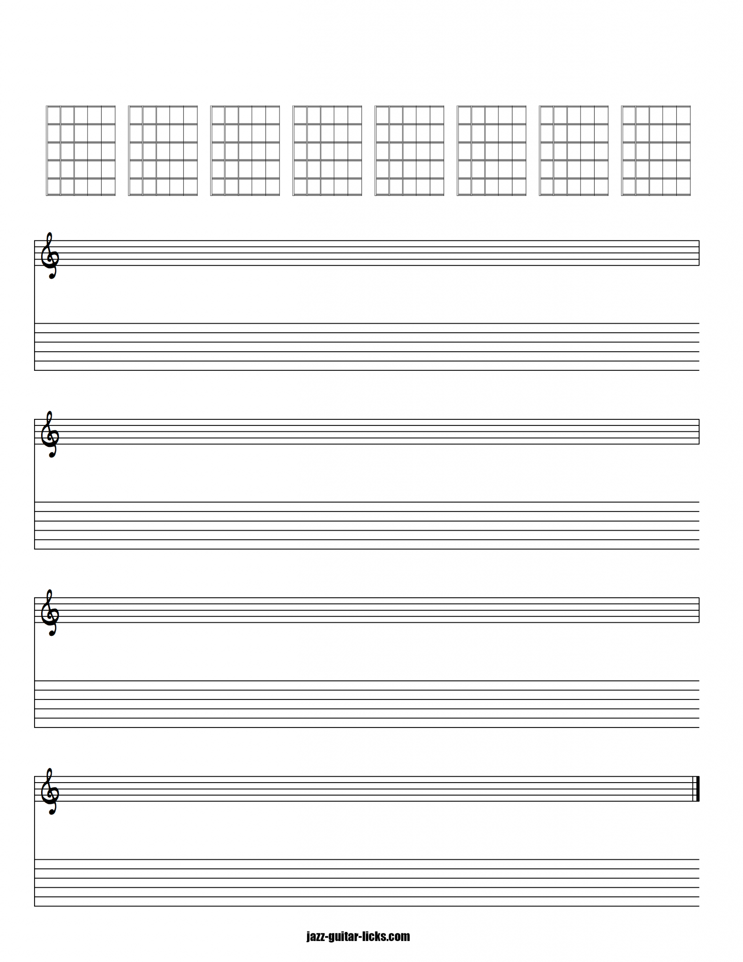 Blank guitar tab stave and chords