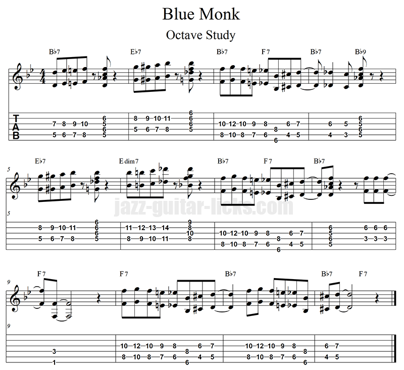 Blue monk jazz blues guitar octave study