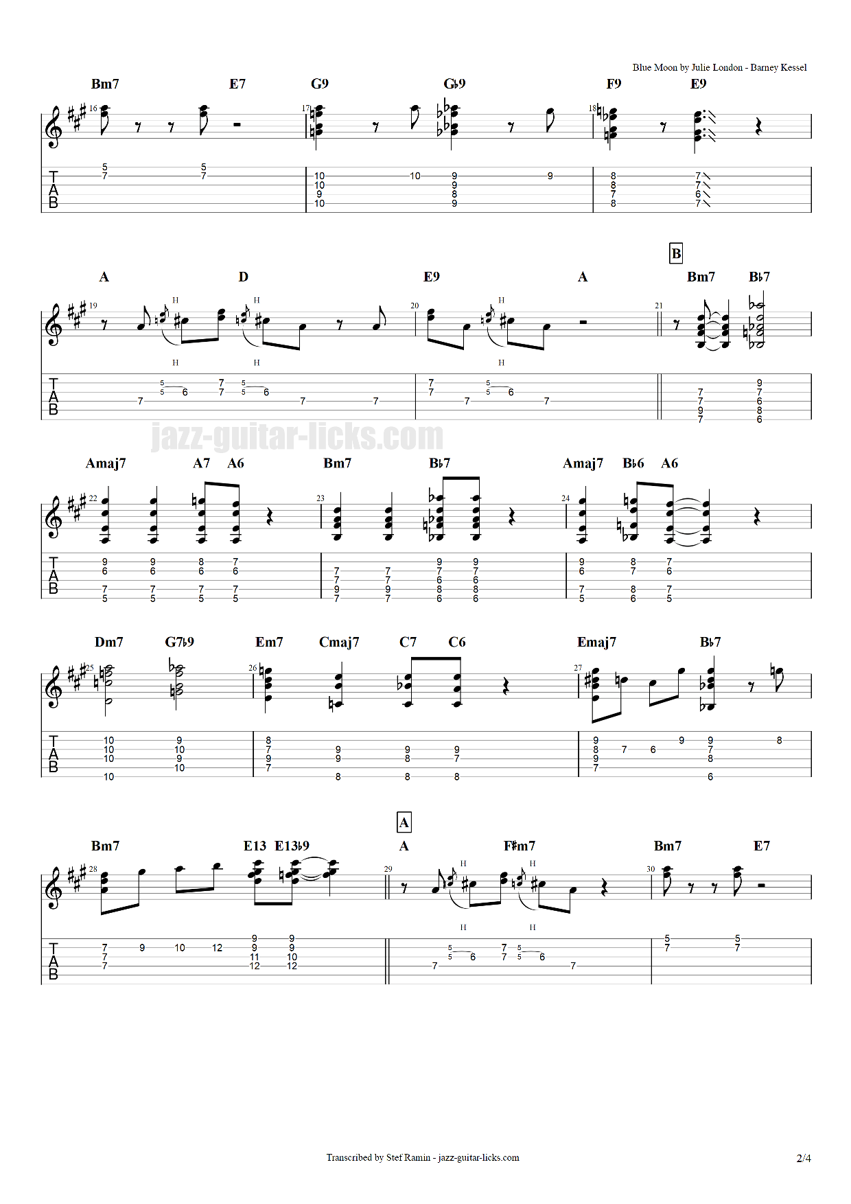Blue moon guitar transcription 2