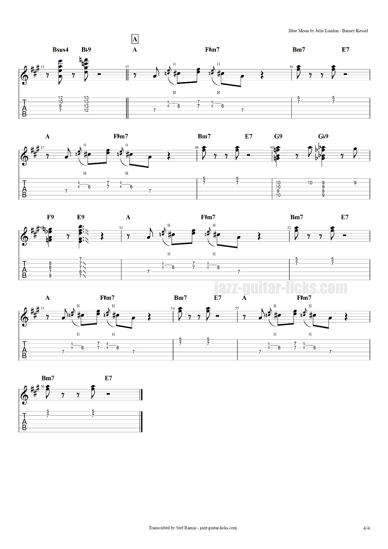 Blue moon guitar transcription 4