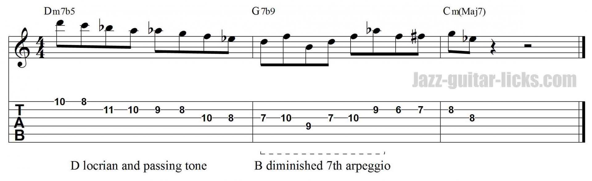 Dim7 arpeggio jazz guitar lick
